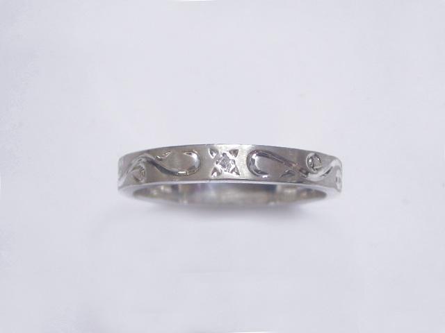 手彫りアラベスクとダイヤのリング・細 TOR13 D