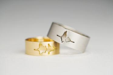 Waveform Wedding Rings